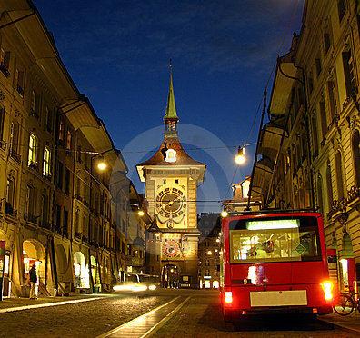Berna di notte svizzera