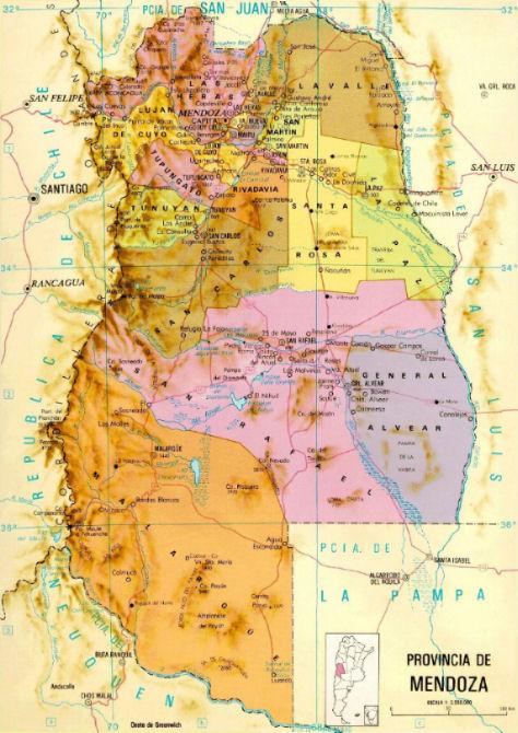 Mappa di Mendoza Argentina vivere in argentina