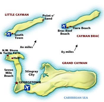 Cartina delle Isole Cayman