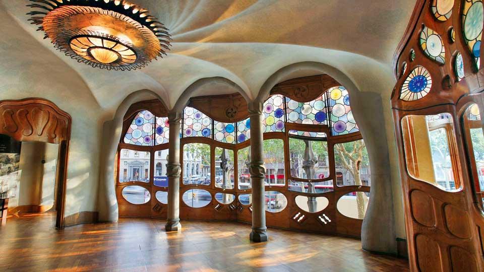 dettagli della Casa Battlò, opera di Gaudì a Barcellona