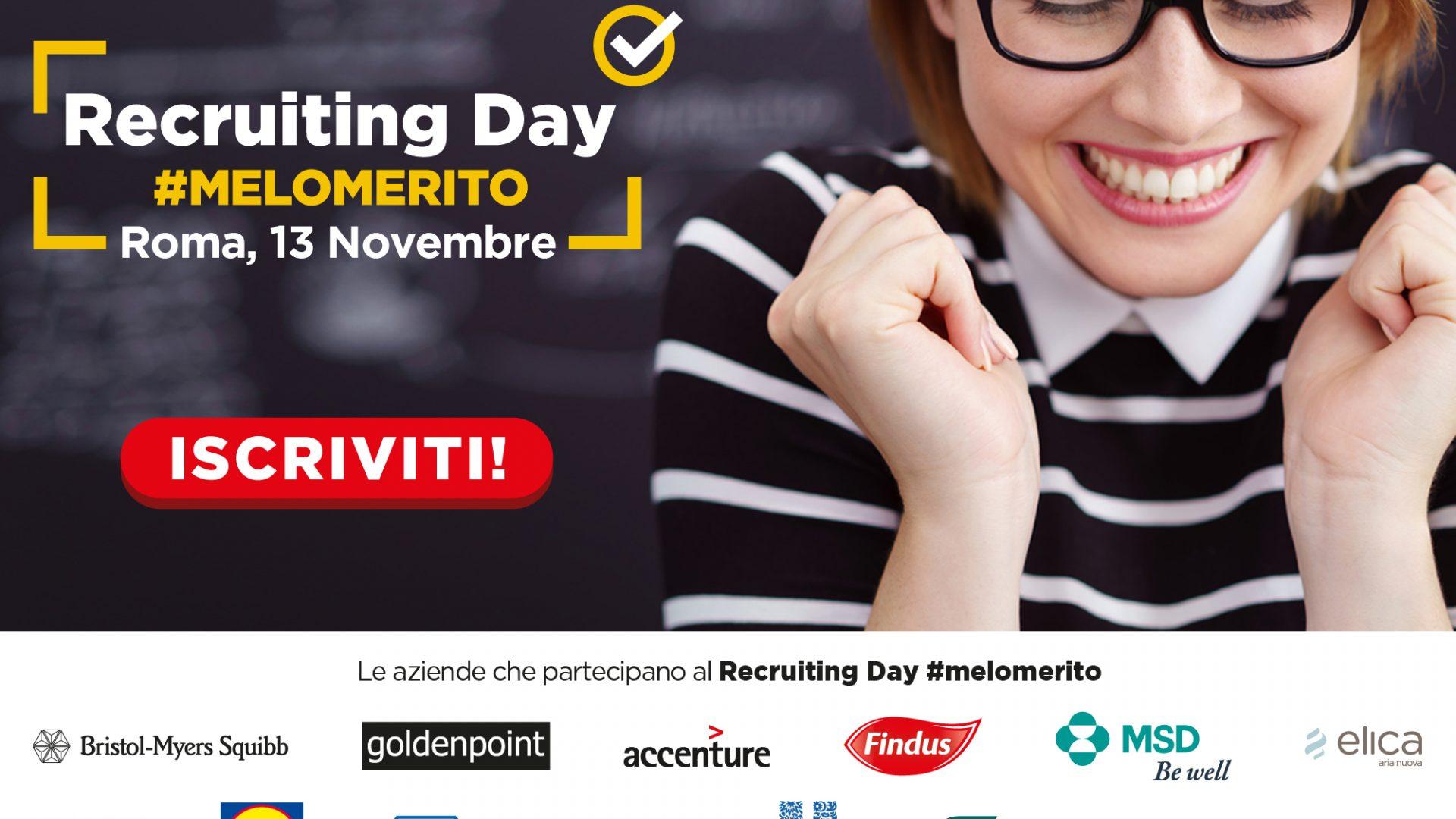 Il lavoro incontra il merito: a Roma arriva il recruting day #melomerito (con 25 multinazionali presenti)