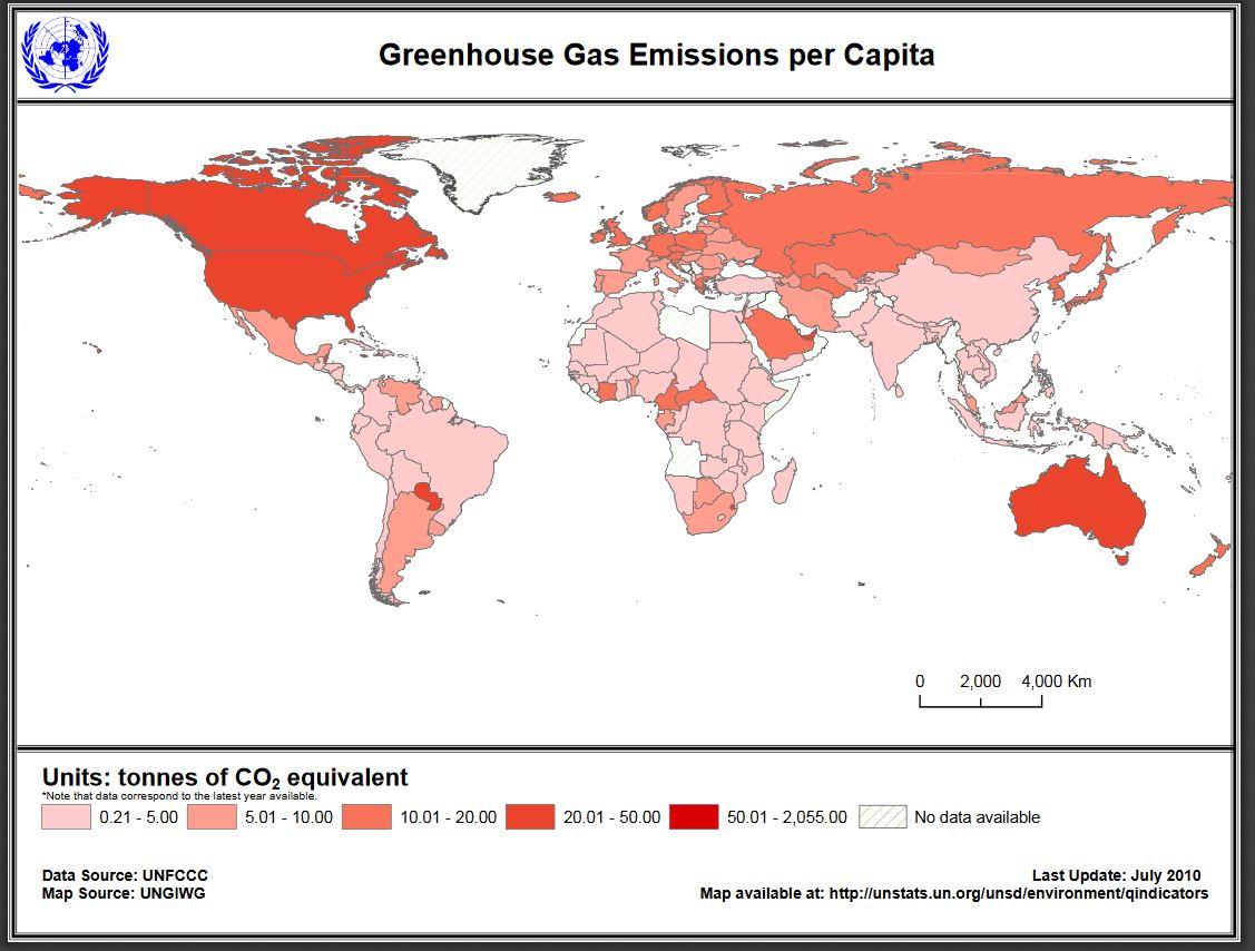 Gas serra emissioni pro capite