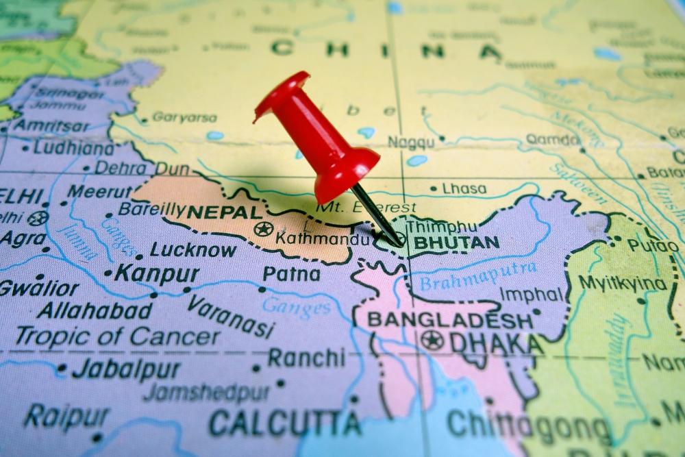 mappa bhutan - dove si trova bhutan