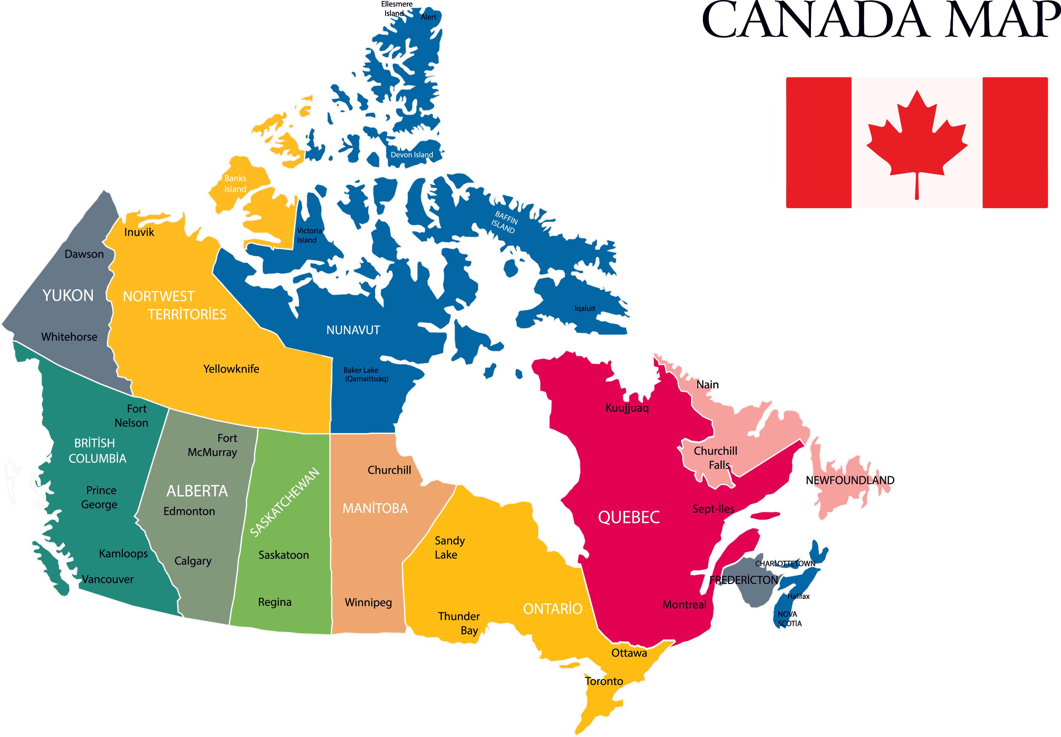 MAPPA DEL CANADA