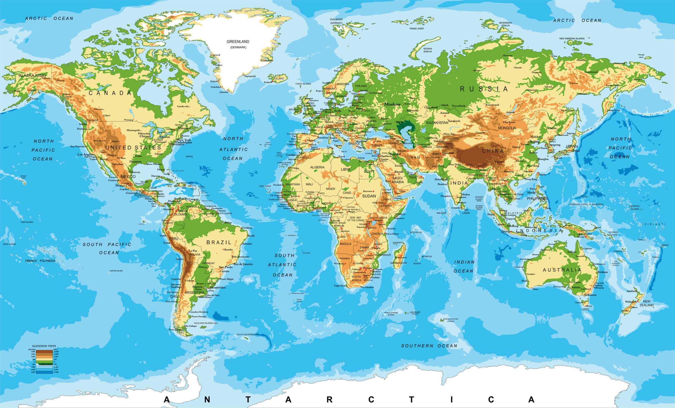 mappa fisica mondo