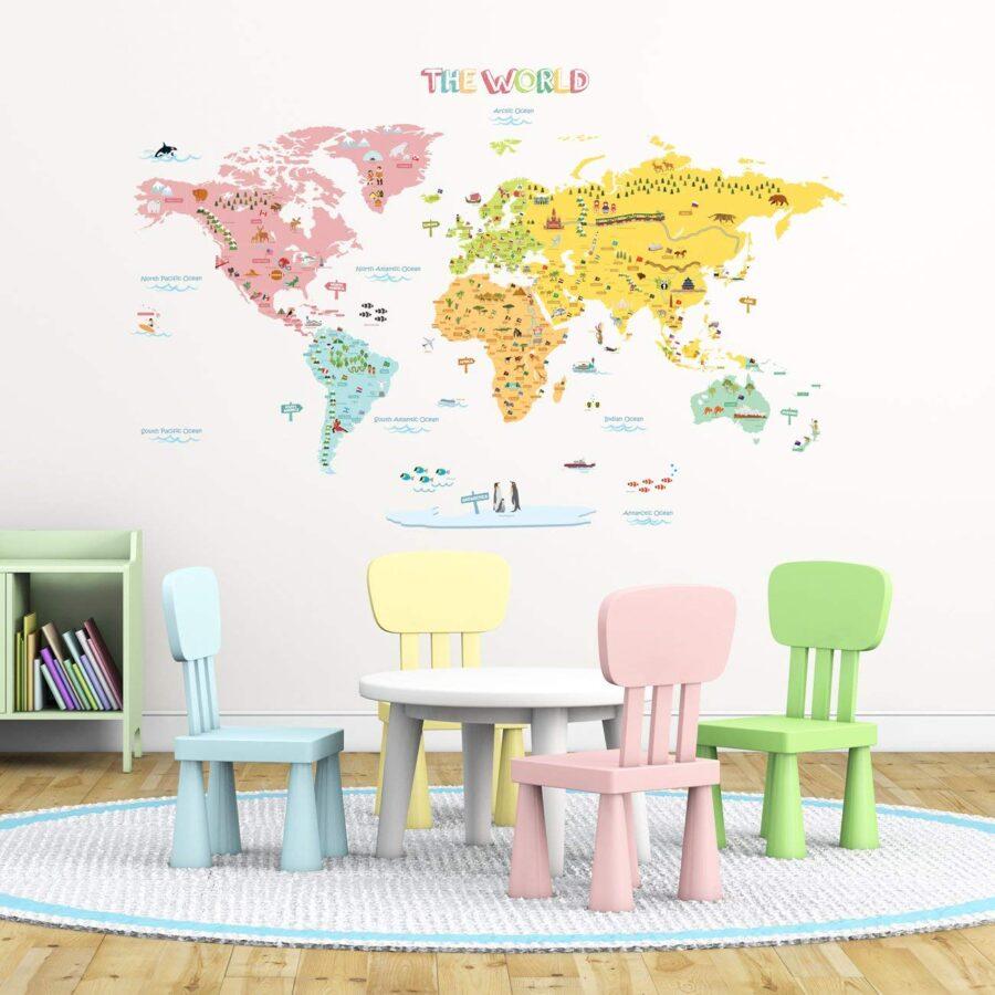 adesivo murale con la mappa del mondo - regalo per viaggiatori