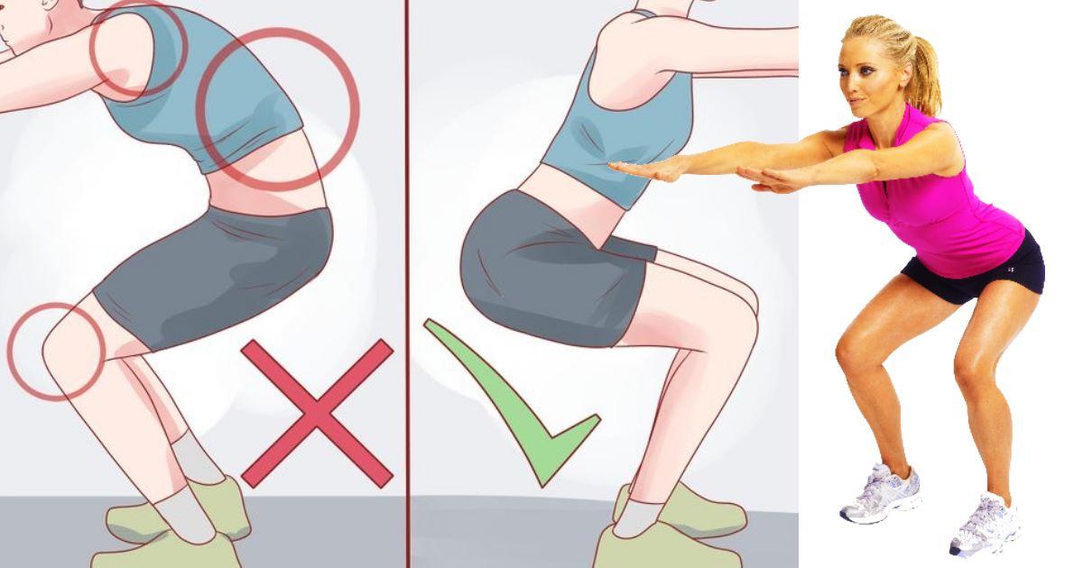 squat posizione corretta - esercizi da fare a casa