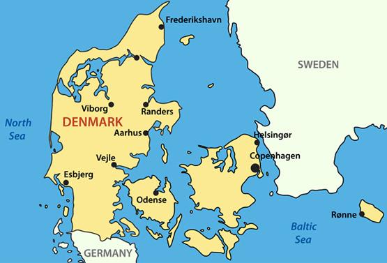 mappa delle città principali della Danimarca