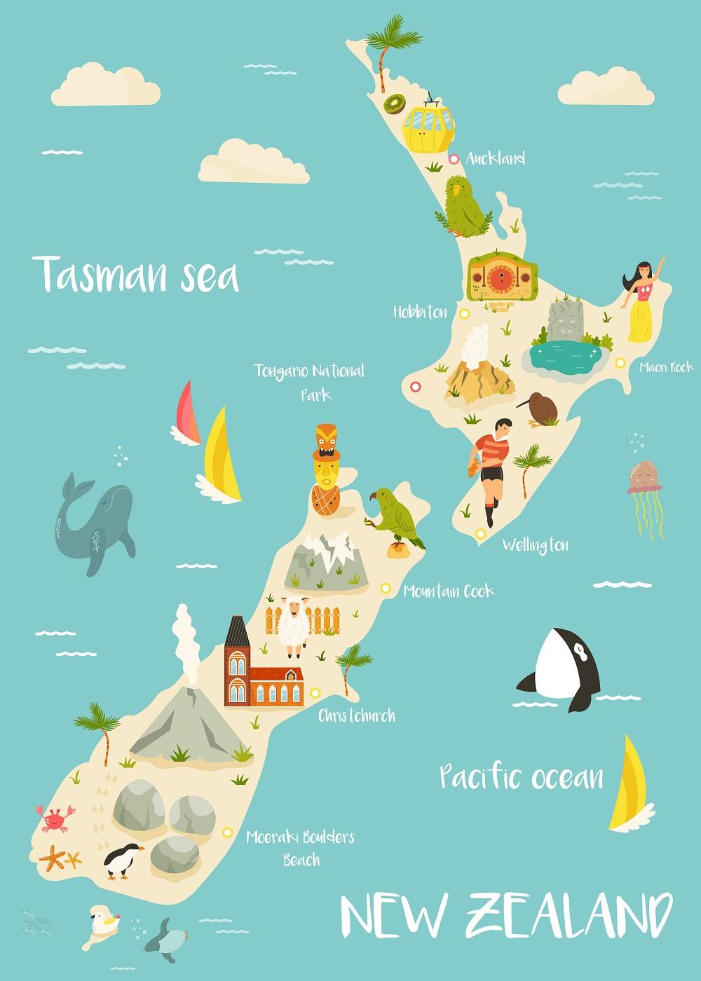 mappa illustrata nuova zelanda
