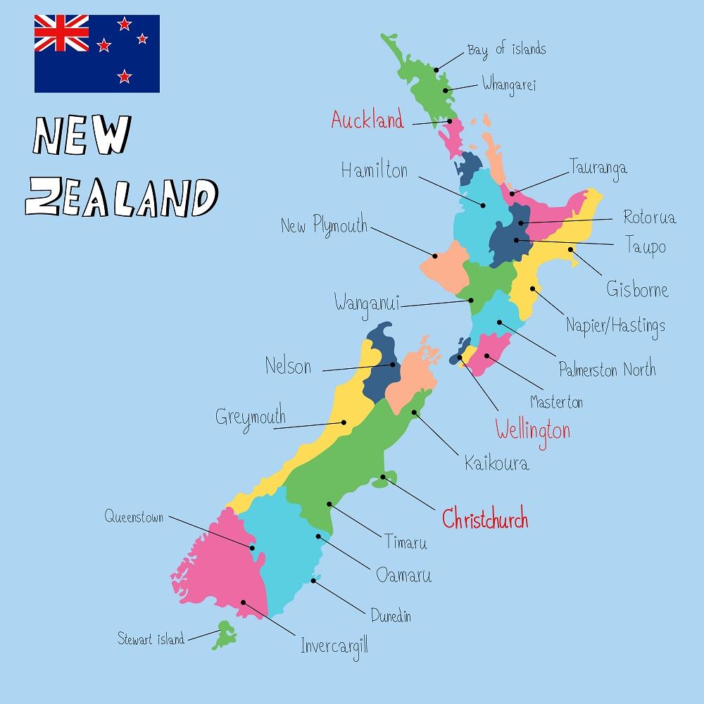 Guida per vivere in Nuova Zelanda - mappa nuova zelanda