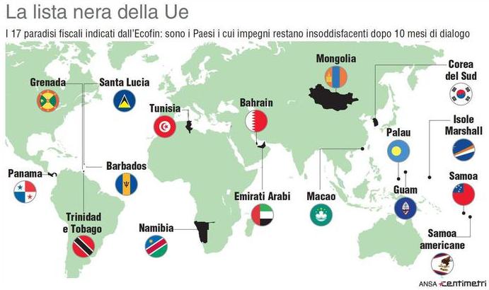 Mappa con bandiere dei paradisi fiscali