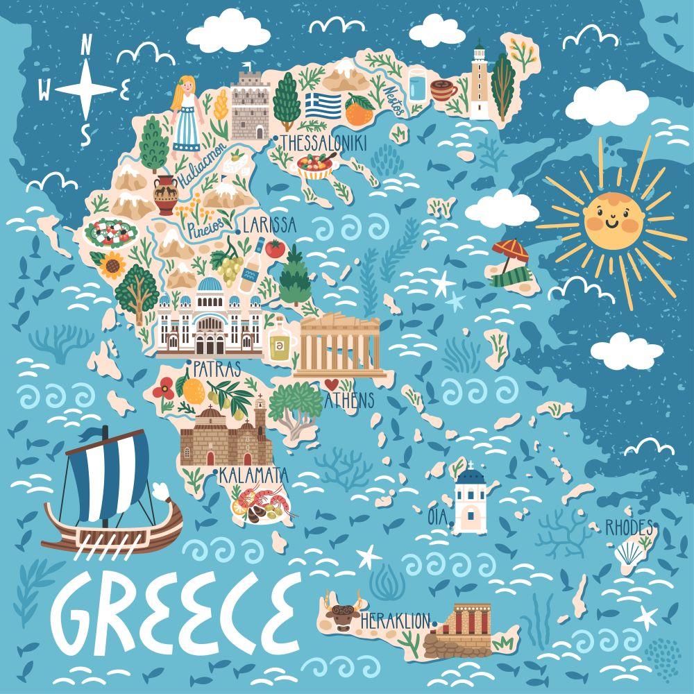 PENSIONATI IN GRECIA MAPPA GRECIA ILLUSTRATA