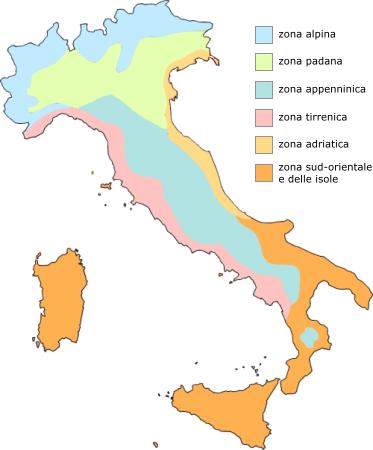 cartina delle zone climatiche in Italia