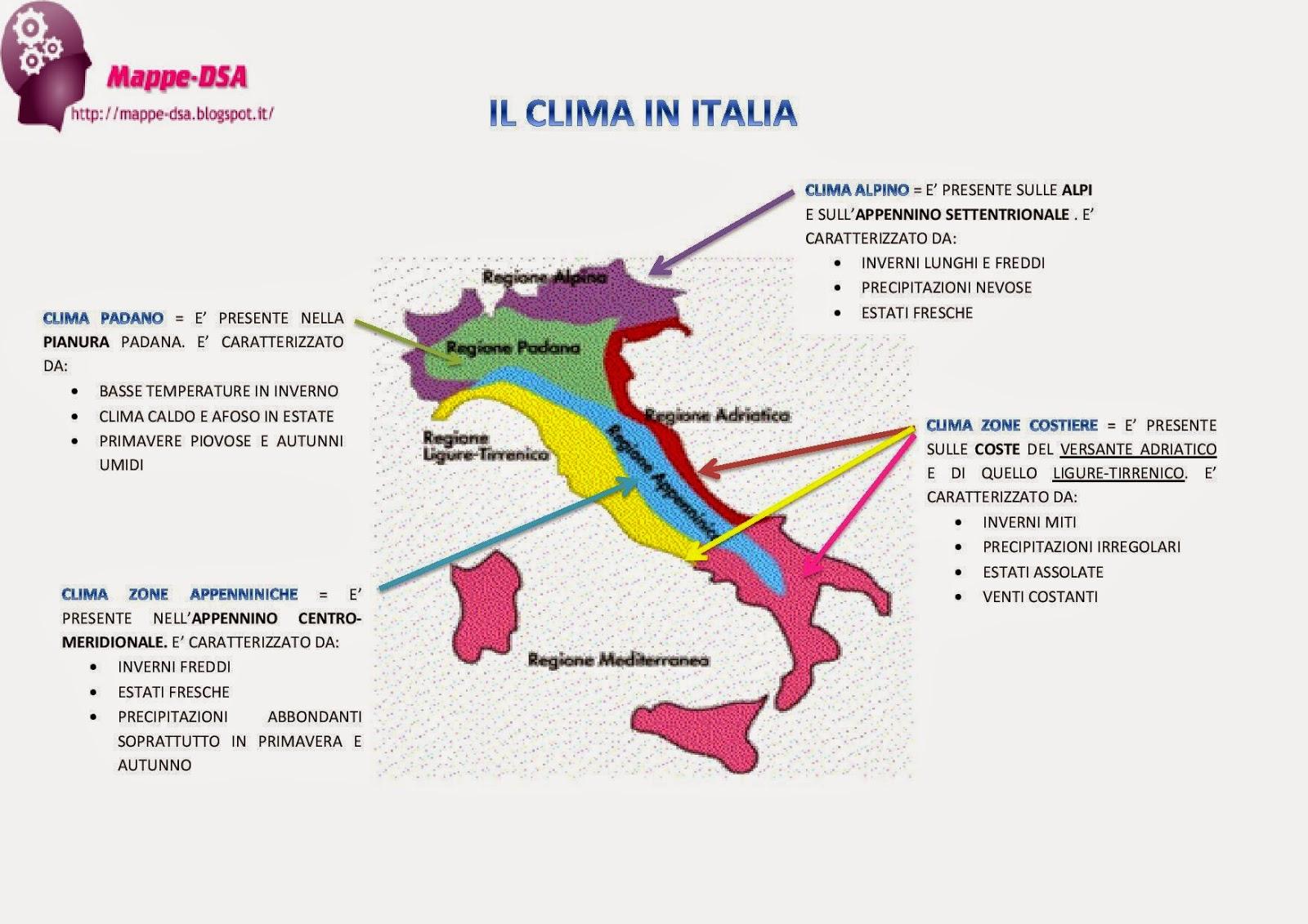 cartina dell'Italia climatica