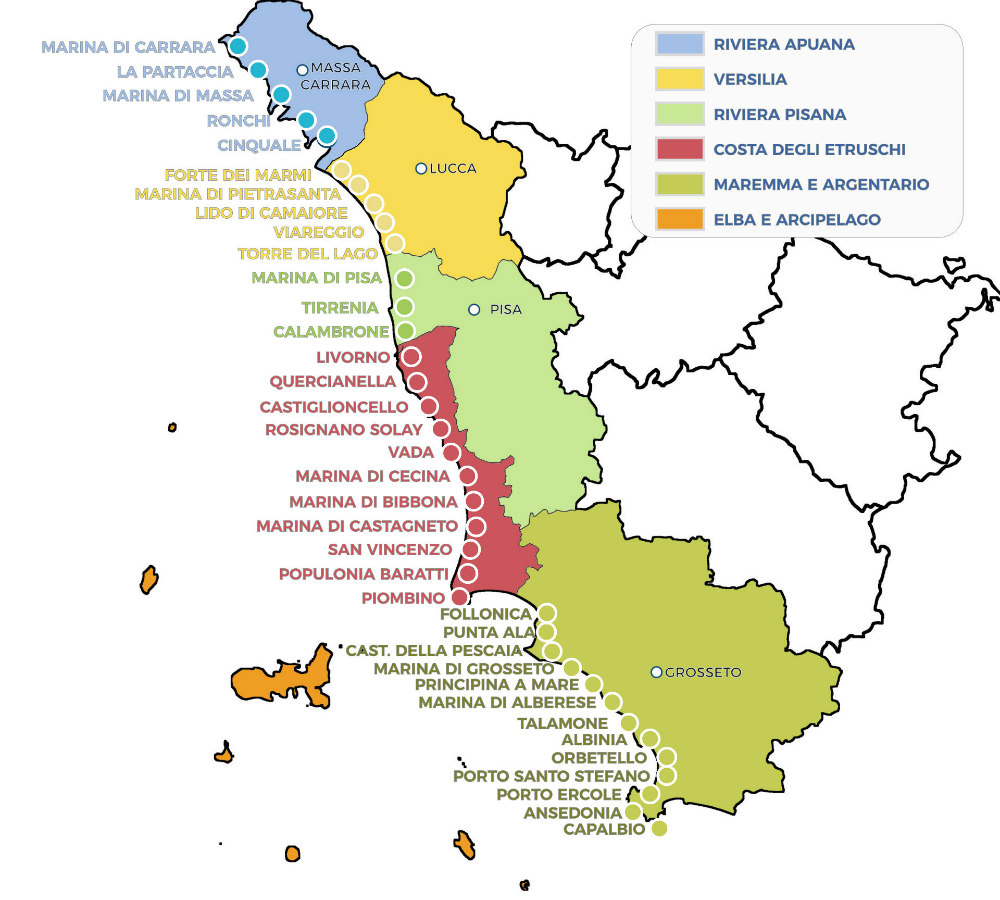 mappa città e paesi toscani sul mare